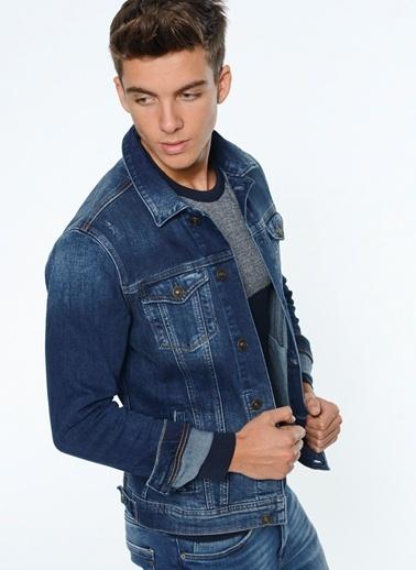 Mavi Erkek Slim Fit Jean Ceket Dark Brushed Riprepair Morhipo